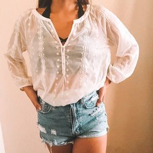 Old Navy Sheer Lace Button Blouse
